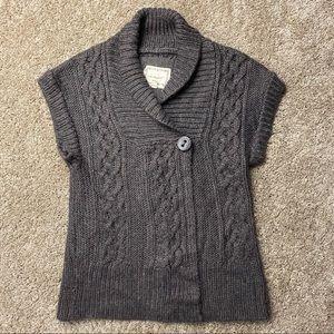 Kenzie Short Sleeve Cardigan Sweater Vest L Brown